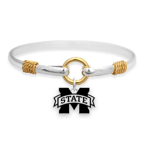 Mississippi State Bulldogs Two Tone Rope Bangle Bracelet