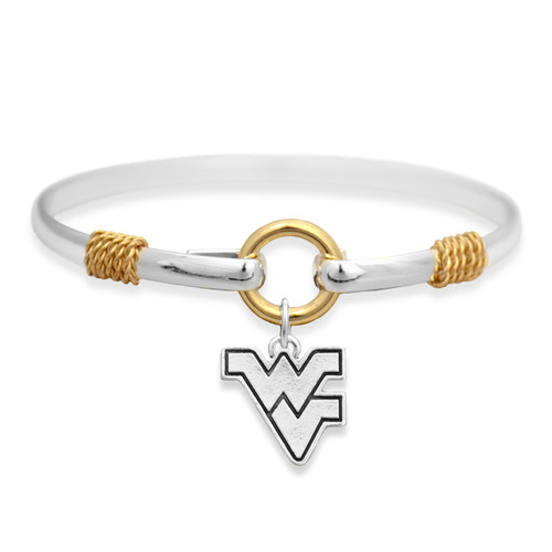 West Virginia Mountaineers Two Tone Rope Bangle Bracelet