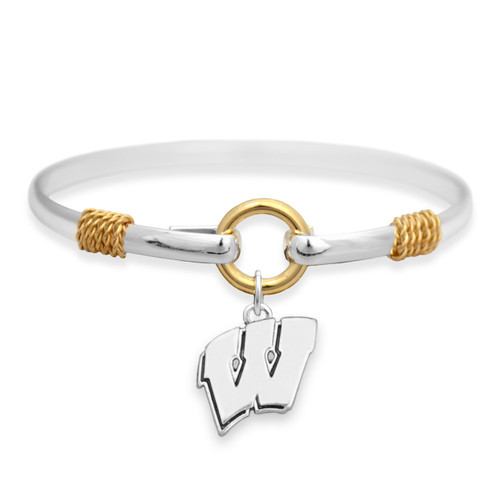 Wisconsin Badgers Two Tone Rope Bangle Bracelet