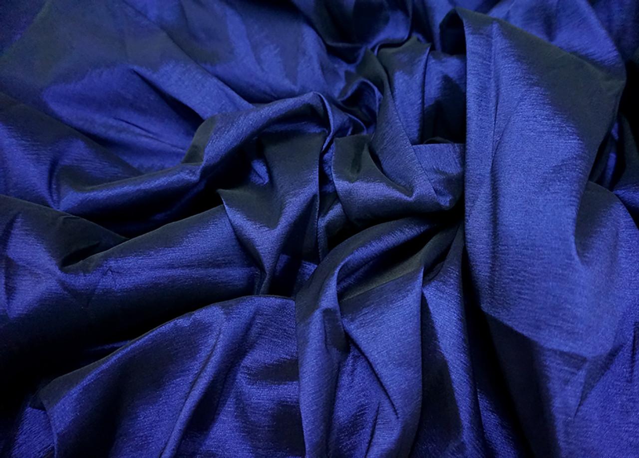 4 Way Stretch Taffeta Faux Silk Fabric Midnight Blue Bangkok Thai Silk