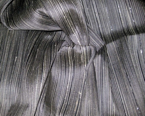 Reeded Stripe Dupioni 100% Auth Silk Fabric - Black & Ivory