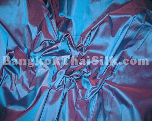 Blue Shot Red 100% Authentic Silk Fabric