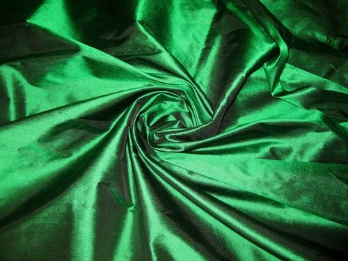 Emerald Shot Black 100% Authentic Silk Fabric