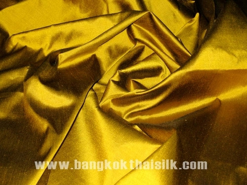 Gold Shot Black 100% Authentic Silk Fabric