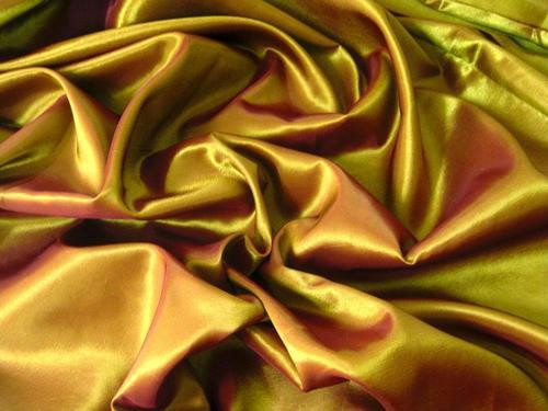 "Bronze Yellow Shot Pink Faux Silk Taffeta 60""W Fabric"