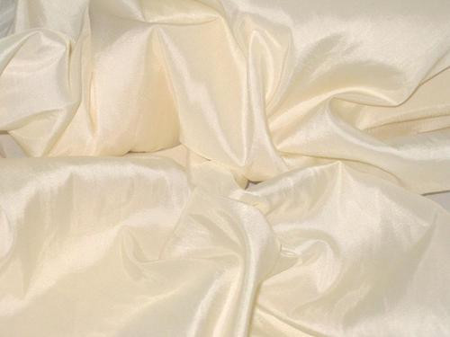 "Cream Peach Faux Silk Taffeta 60""W Fabric"