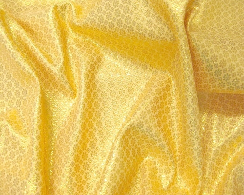 Floral Bling Bling Metallic Brocade Fabric - Gold on Gold