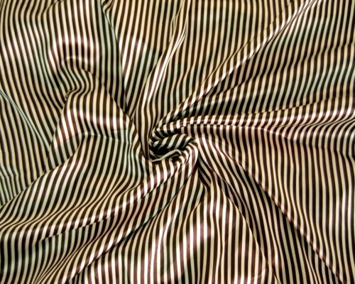 "Stripe Faux Silk Satin 48"" Fabric -Brown & Gold"