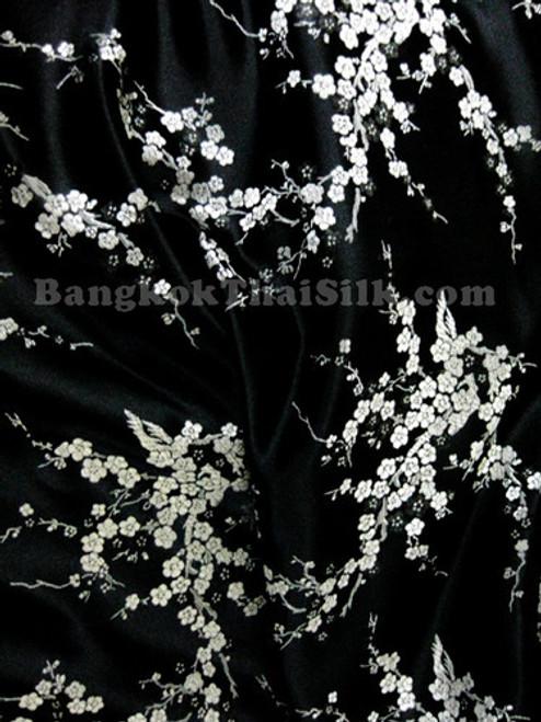 Black & Silver Silk Shantung Cherry Blossom Brocade