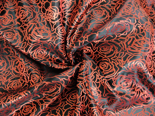 Black Red Silk Shantung Roses Brocade