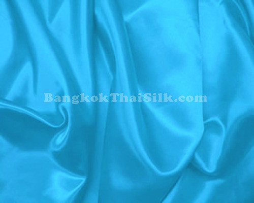 "Turquoise Blue Satin Fabric 44""W"