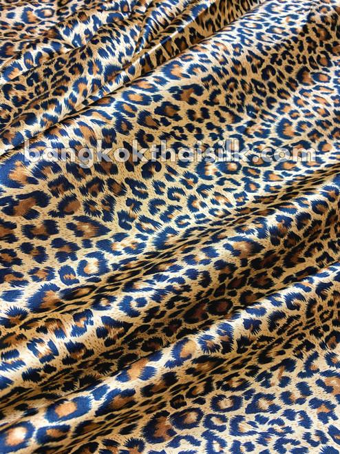 "Cheetah Leopard Animal Print Satin 48""W Fabric - Gold Brown"