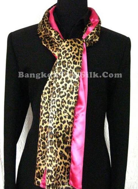 "Animal Scarf  Leopard Cheetah & Pink Satin 14""x65"""