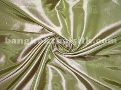 "Gold Shot Green Faux Silk Taffeta 60""W Fabric"