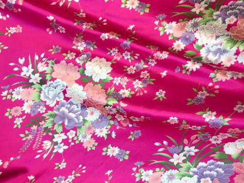 "Bouquet Flower Faux Silk Satin Fabric 48""W - Hot Pink"