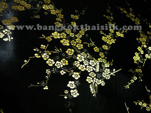 Black & Gold Silk Shantung Cherry Blossom Brocade