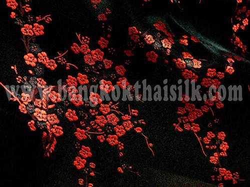 Black & Red Silk Shantung Cherry Blossom Brocade
