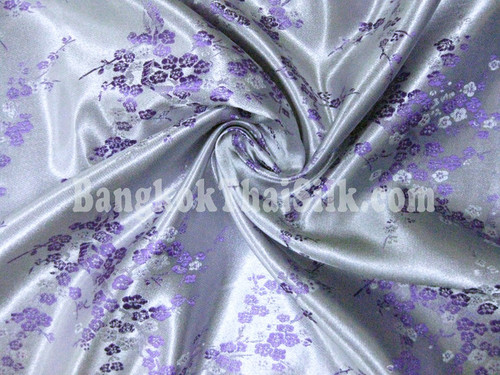Lavender & Purple Silk Shantung Cherry Blossom Brocade