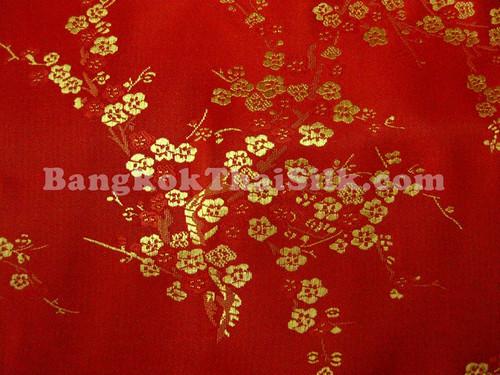 Red & Gold Silk Shantung Cherry Blossom Brocade