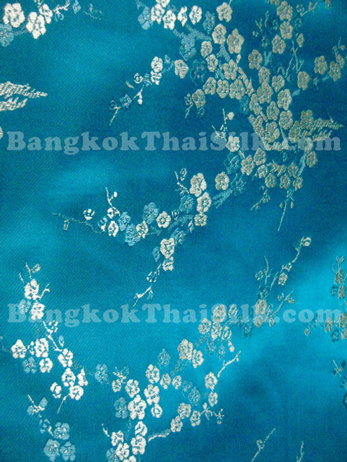 Turquoise & Silver Silk Shantung Cherry Blossom Brocade