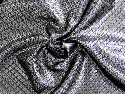 Diamond Bling Bling Metallic Brocade Fabric - Black & Silver