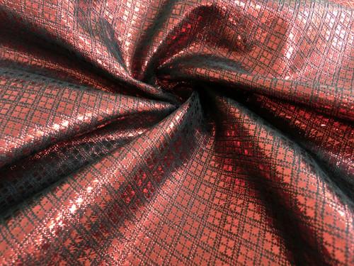 Diamond Bling Bling Metallic Brocade Fabric - Red & Black