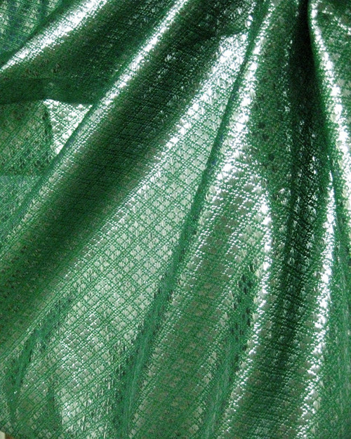 Diamond Bling Bling Metallic Brocade Fabric - Emerald & Silver