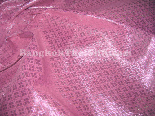 Diamond Bling Bling Metallic Brocade Fabric - Pink & Silver