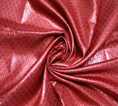 Diamond Bling Bling Metallic Brocade Fabric - Red on Red