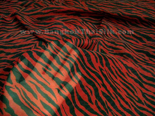 "ZEBRA ANIMAL PRINT RED & BLACK CHIFFON 60""W FABRIC"