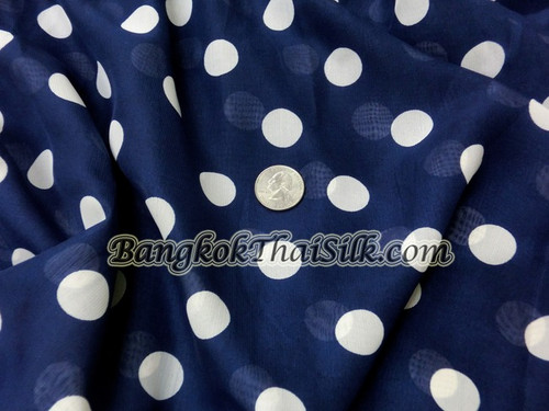 "Navy Blue Chiffon White Polka Dot 60""W Fabric"