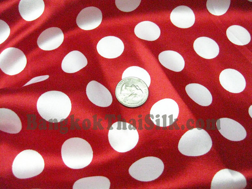 "Polka Dot Satin 48""W Fabric - Red & White"