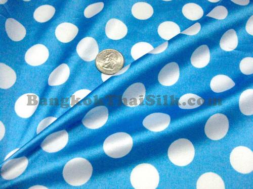 """Polka Dot Satin 48""""W - Turquoise Blue & White"""