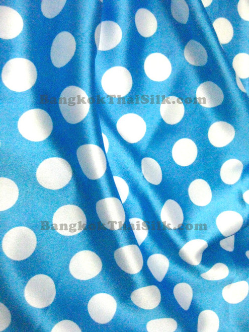 "Polka Dot Satin 48""W - Turquoise Blue & White"