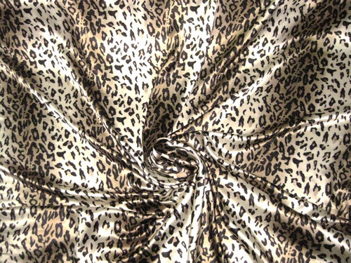 "Animal Print Stripe Faux Silk Satin 48""W Fabric - Ivory Gold"