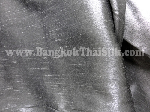 "Faux Silk Caprice Dupioni 60""W Fabric - Dark Silver Grey"