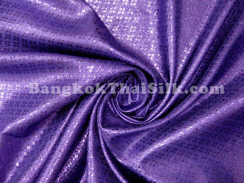 Diamond Bling Bling Metallic Brocade Fabric - Royal Purple