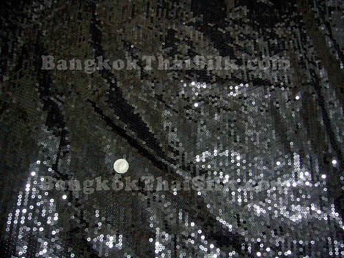 Sequin Satin Fabric - Black