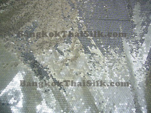 Sequin Satin Fabric - Silver