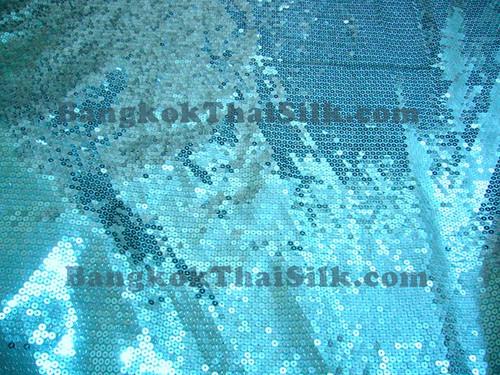 Sequin Satin Fabric - Turquoise