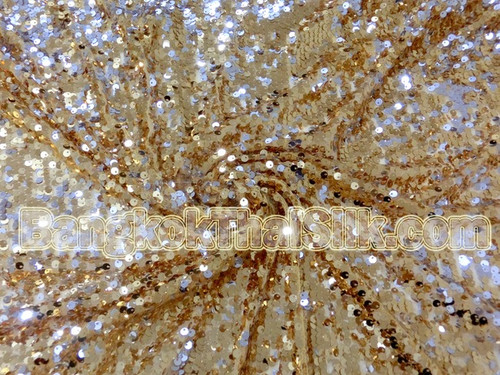 Sequin Mesh Dangle Fabric - Gold & Silver
