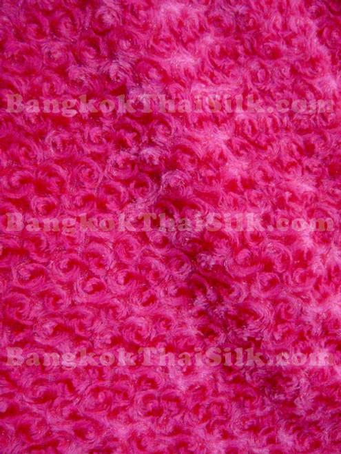 Fur Minky Rosette Floral - Hot Pink