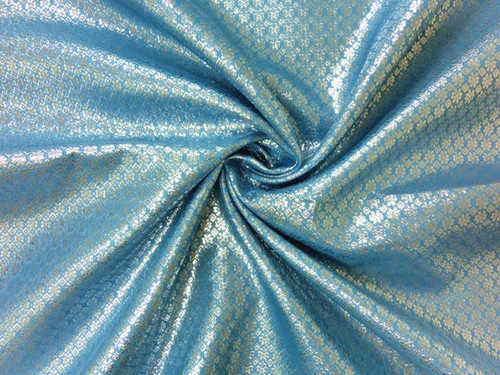 Floral Bling Bling Metallic Brocade Fabric - Sky Blue & Silver