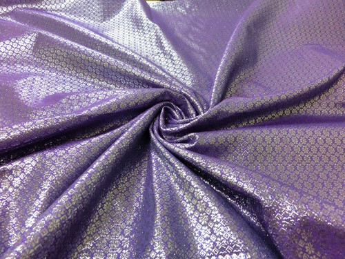 Floral Bling Bling Metallic Brocade Fabric - Lavender & Silver