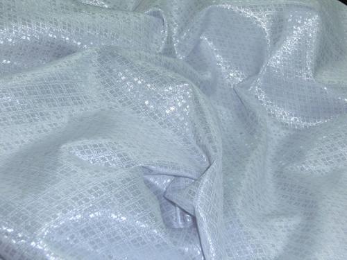 Diamond Bling Bling Metallic Brocade Fabric - White & Silver
