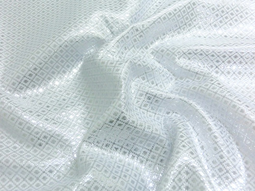 Square Diamond Bling Bling Metallic Brocade Fabric - White & Silver