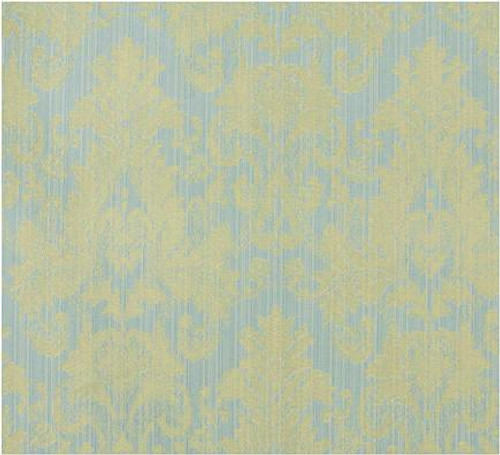 Damask Faux Silk Fabric - Fatigue Blue & Gold