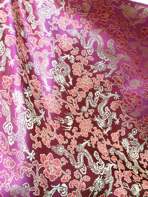 Purple Fuchsia w Gold & Red Silk Shantung Dragon Brocade Fabric