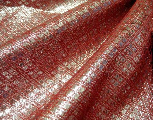 Diamond Bling Bling Metallic Brocade Fabric - Red Orange & Black