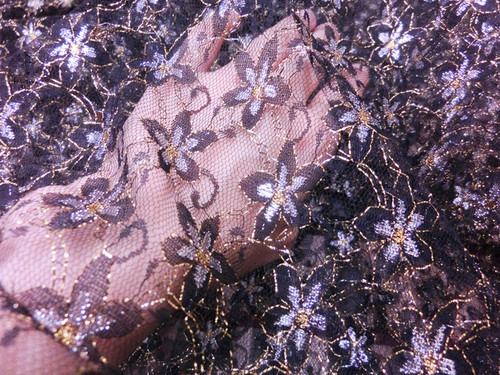 Black Silver & Gold Floral Embroidered Net Mesh Fabric